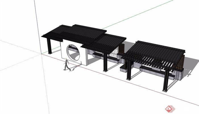 中式风格完整的廊架详细素材设计su模型