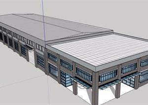 现代风格单层仓库详细建筑设计SU(草图大师)模型