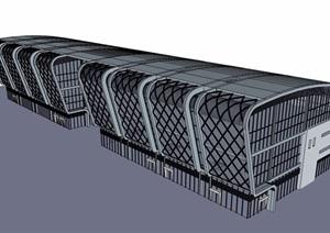 详细的车站完整建筑设计SU(草图大师)模型