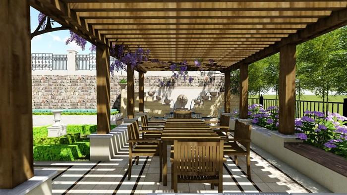 欧式别墅庭院景观设计花园设计2su模型素材资料(1)