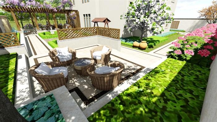 欧式别墅庭院景观设计花园设计2su模型素材资料(3)