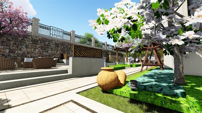 欧式别墅庭院景观设计花园设计2su模型素材资料(4)