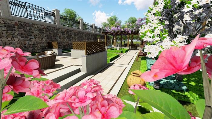 欧式别墅庭院景观设计花园设计2su模型素材资料(5)