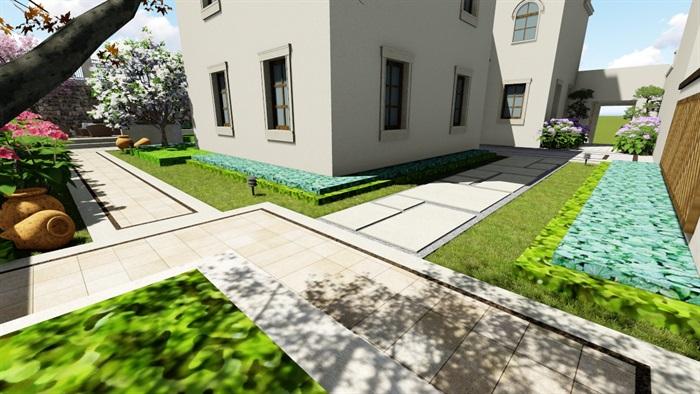 欧式别墅庭院景观设计花园设计2su模型素材资料(7)