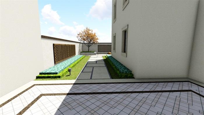 欧式别墅庭院景观设计花园设计2su模型素材资料(8)