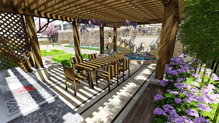 欧式别墅庭院景观设计花园设计2su模型素材资料(9)