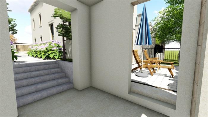欧式别墅庭院景观设计花园设计2su模型素材资料(10)