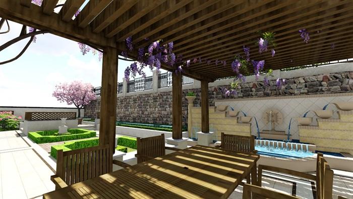 欧式别墅庭院景观设计花园设计2su模型素材资料(13)