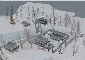 古典中式旅游景区建筑楼详细设计SU(草图大师)模型