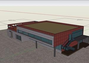 现代两层仓库建筑楼详细设计SU(草图大师)模型