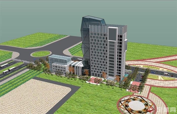 现代风格高层办公建筑楼详细设计su模型