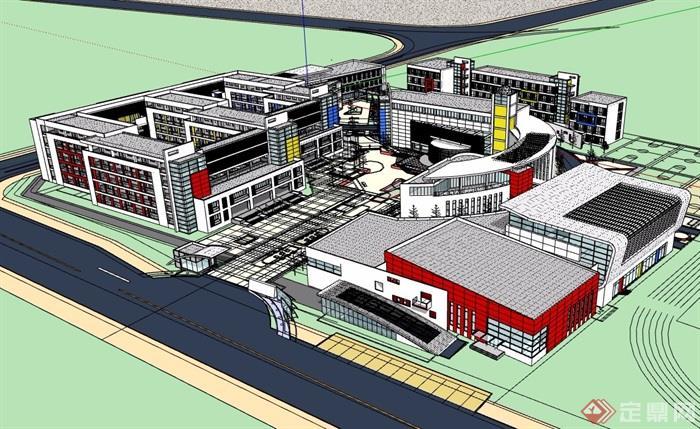 现代教育教学建筑楼详细设计su模型