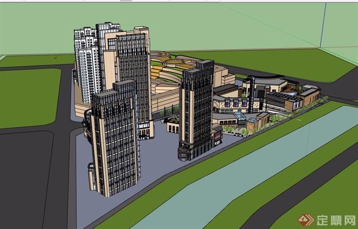 现代完整独特商业办公建筑楼详细设计su模型
