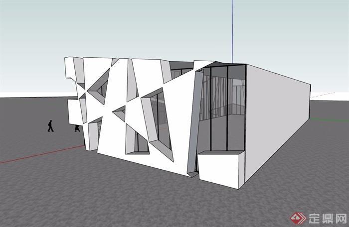 现代独特售楼处建筑楼详细设计su模型