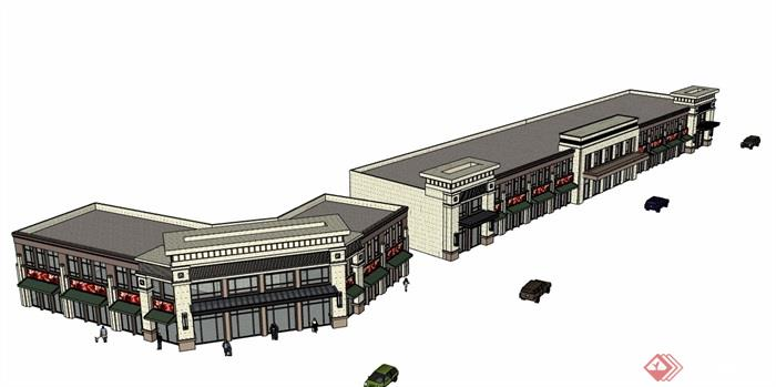 新古典风格多层商业建筑楼详细设计su模型