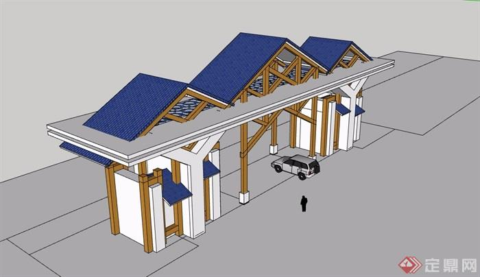 中式园林景观大门详细设计su模型
