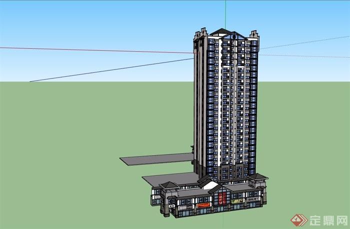 中式商住建筑楼详细设计su模型