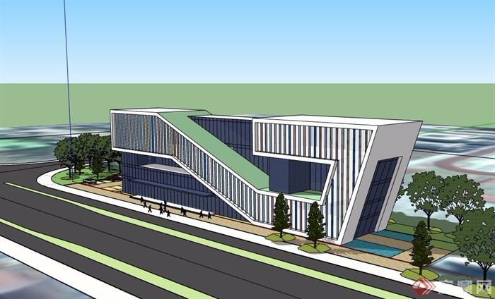 现代独特造型的办公建筑楼详细设计su模型