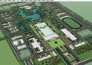 现代风格详细的完整学校景观规划设计SU(草图大师)模型