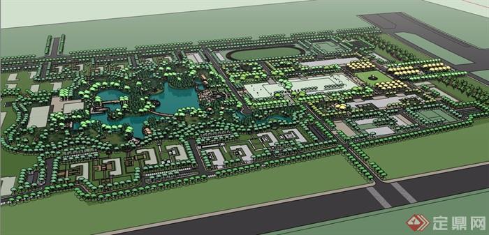 现代风格详细的完整学校景观规划设计su模型