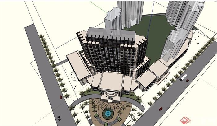 新古典风格酒店建筑楼详细设计su模型