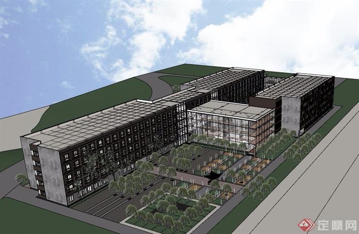 现代风格多层学校建筑楼详细设计su模型