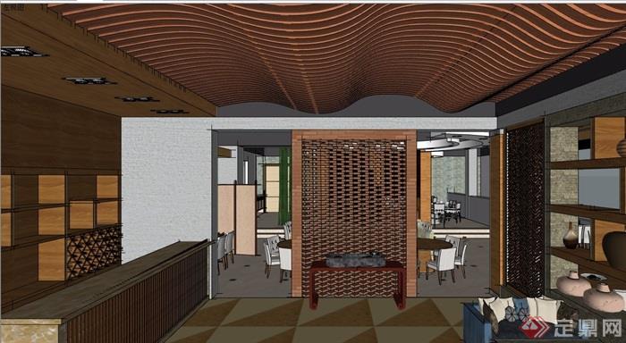 现代风格餐厅详细室内空间设计su模型