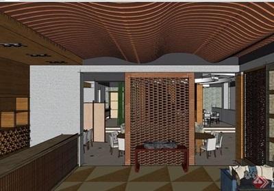 現代風格餐廳詳細室內空間設計su模型