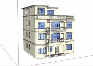 四层欧式别墅详细建筑设计SU(草图大师)模型