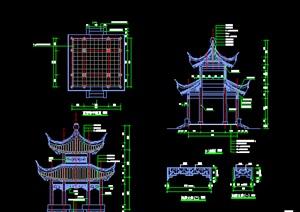 中国古典中式景观双层亭
