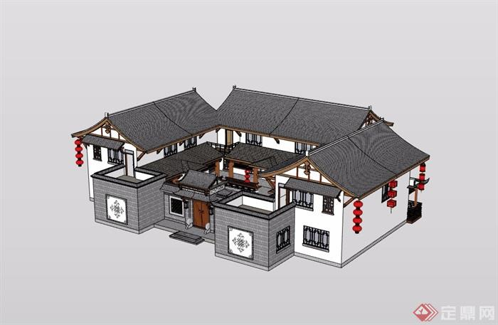 中式详细四合院民居住宅建筑设计su模型