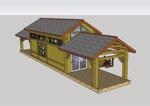 中式风格详细亭廊建筑设计SU(草图大师)模型