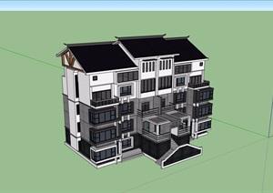 中式风格详细的完整住宅别墅详细建筑设计SU(草图大师)模型