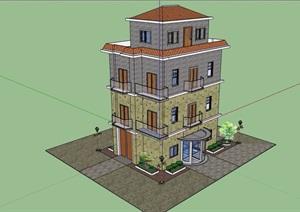 欧式风格详细四层别墅建筑设计SU(草图大师)模型