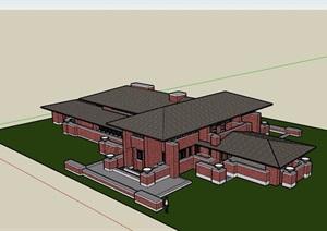 欧式风格私人整体住宅别墅详细建筑设计SU(草图大师)模型