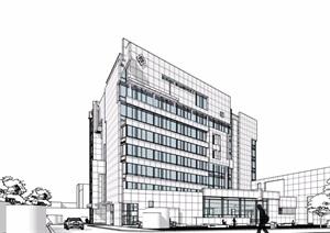 现代风格详细的完整医疗建筑设计SU(草图大师)模型