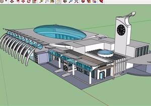 现代风格化详细的车站建筑设计SU(草图大师)模型