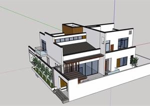 现代风格完整的住宅别墅建筑设计SU(草图大师)模型