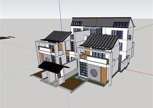 中式风格详细的完整双拼住宅别墅建筑设计SU(草图大师)模型