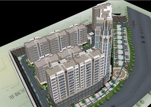 辦公及住宅綜合建筑設計SU(草圖大師)模型