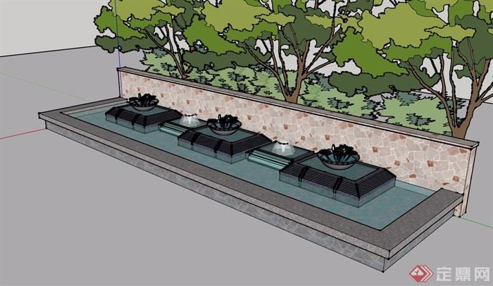 現代風格詳細的噴泉水池景觀設計su模型