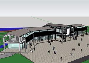 旅游区接待处建筑设计SU(草图大师)模型