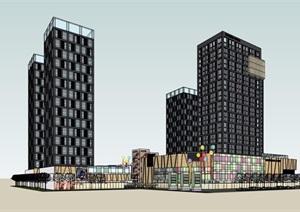現代風格完整商業辦公建筑設計SU(草圖大師)模型