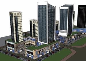 現代完整的商業辦公建筑設計SU(草圖大師)模型