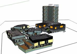完整的商業辦公樓建筑設計SU(草圖大師)模型