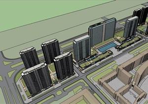 現代多棟商業辦公建筑設計SU(草圖大師)模型