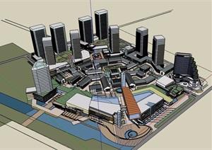 現代商業辦公建筑樓建筑設計SU(草圖大師)模型