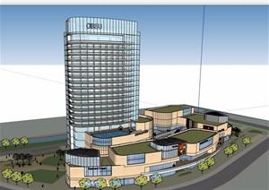 現代風格詳細的商業辦公綜合體建筑設計SU(草圖大師)模型