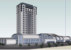 某现代风格独特汽车站建筑设计SU(草图大师)模型