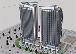 現代風格詳細的商業辦公樓建筑設計SU(草圖大師)模型
